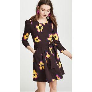 A.L.C. Stella Silk Brown Yellow Floral Mini Dress